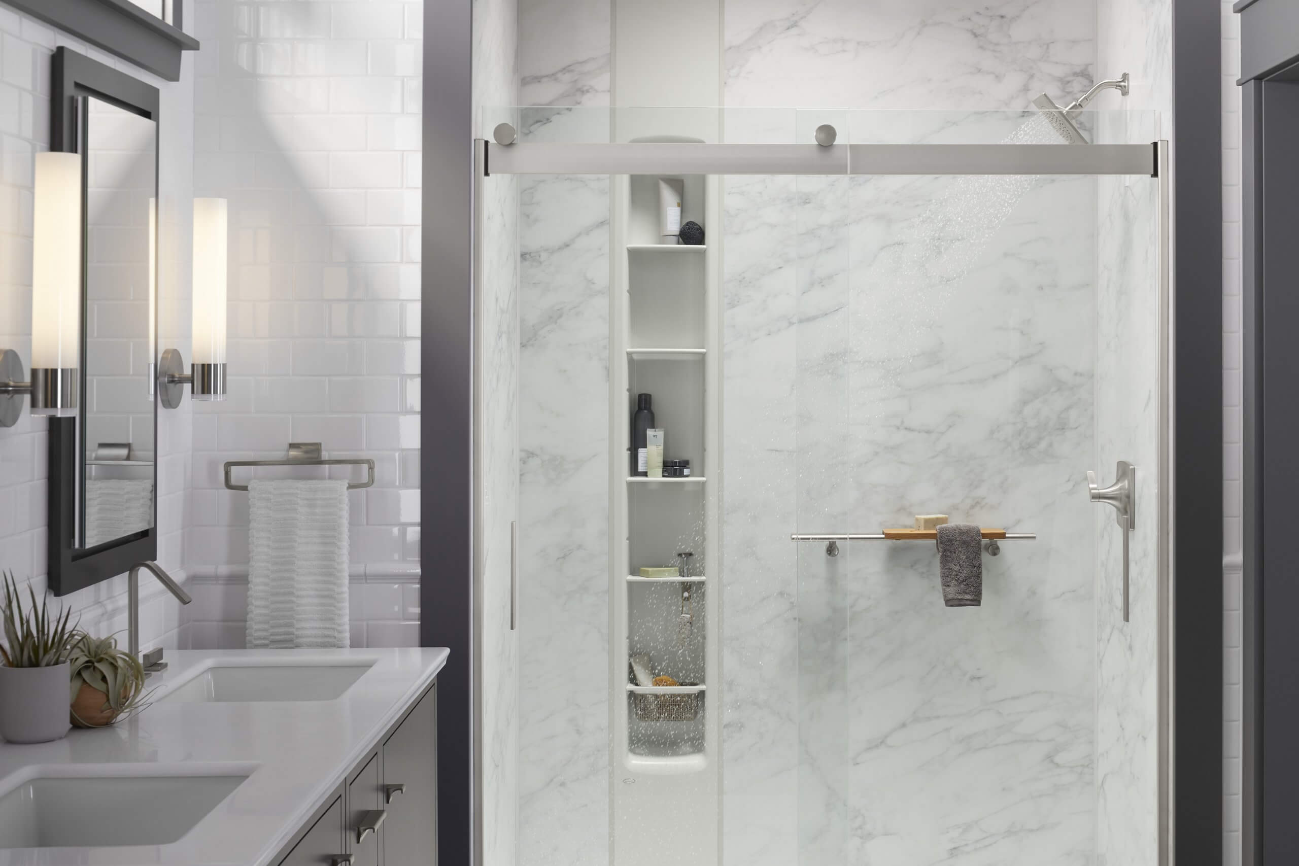Kohler LuxStone Shower Calacatta Installation by Pacific Bath Company